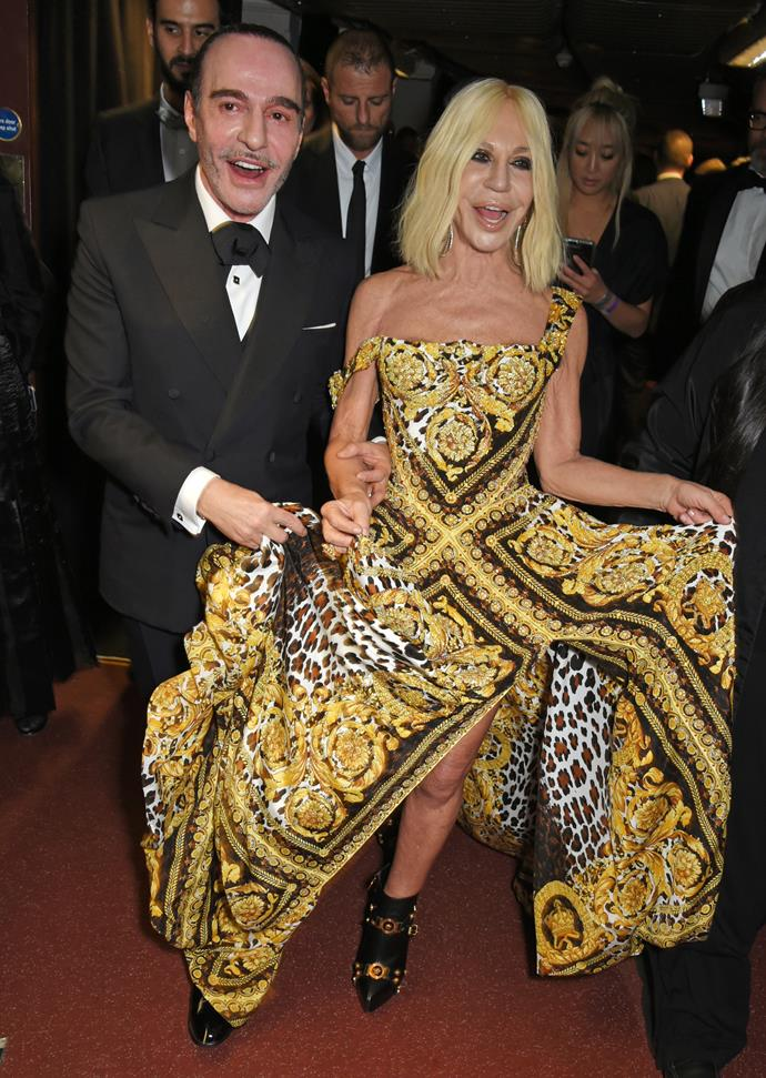 The wind changed and John Galliano and Donatella Versace were stuck like this.