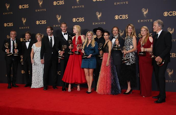 The cast of *Big Little Lies* with awards in hand.