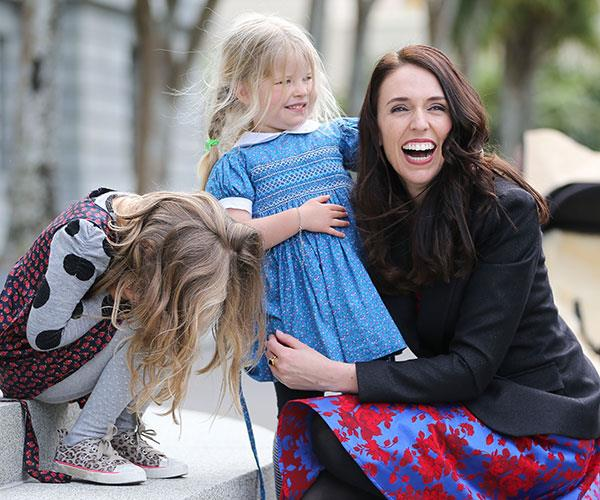 Jacinda with Nina and Rosie at her swearing-in ceremony at Government House.