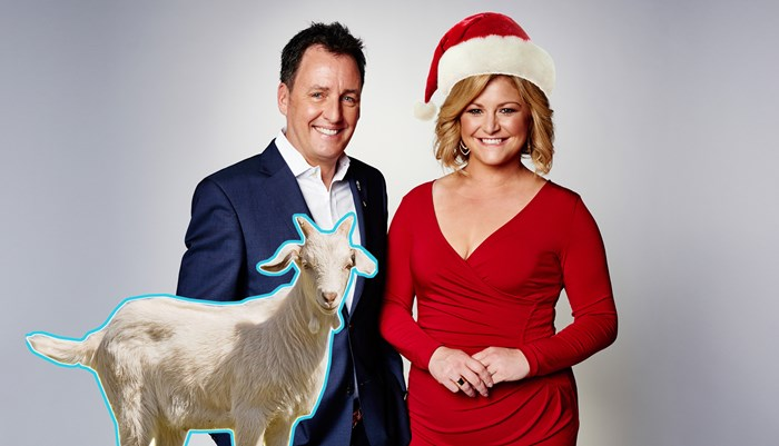 Toni Street gives Mike Hosking a goat for Christmas