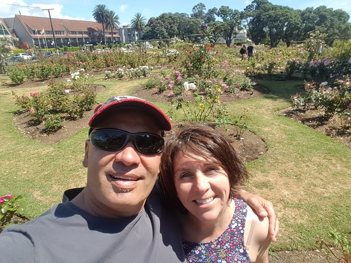 Me and my husband Dean enjoying the Parnell rose gardens, which were directly across the road from our hotel, the Quality Hotel Parnell.