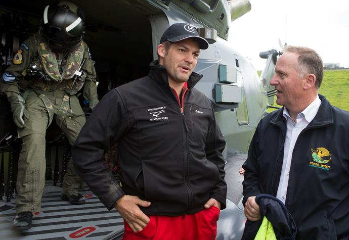 Richie McCaw and Prime Minister John Key during a visit to Kaikoura on November 14th 2016 following the  7.5 magnitude earthquake.