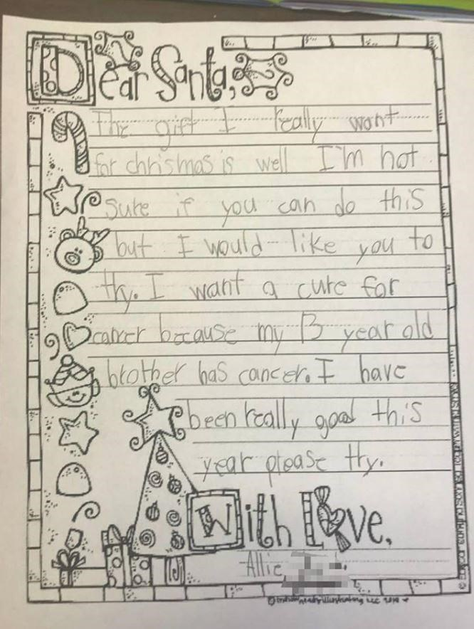 Allie's selfless Santa letter. Picture: Kasie Muir Hart
