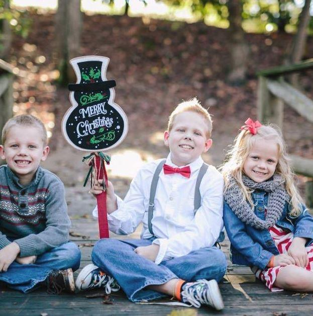 Allie with her brothers getting into the festive spirit. Picture: Kasie Muir Hart