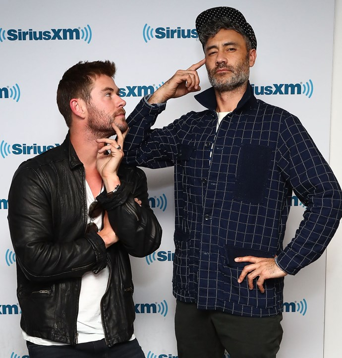 Chris Hemsworth and Taika Waititi joke around at an event in New York in October 2017.
