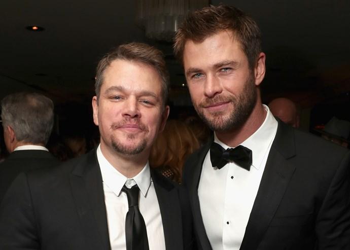 Friends Matt Damon and Chris Hemsworth at a Golden Globes event in January 2017.