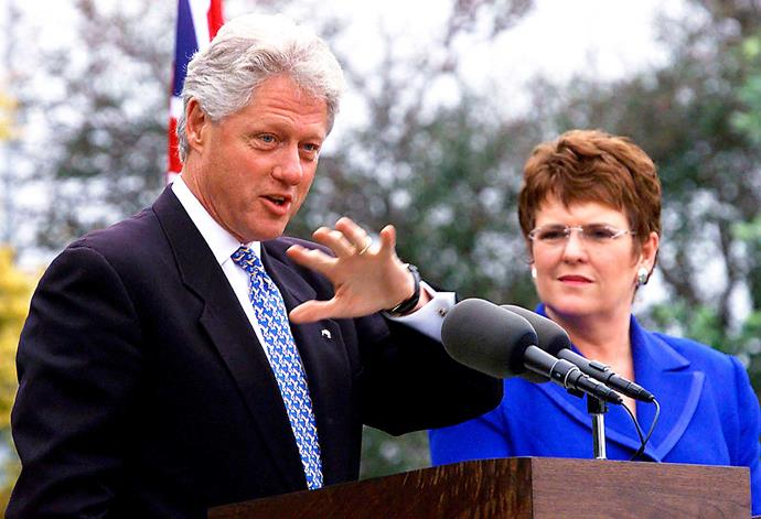 Serving as PM from 1997-1999, she met former US President Bill Clinton.