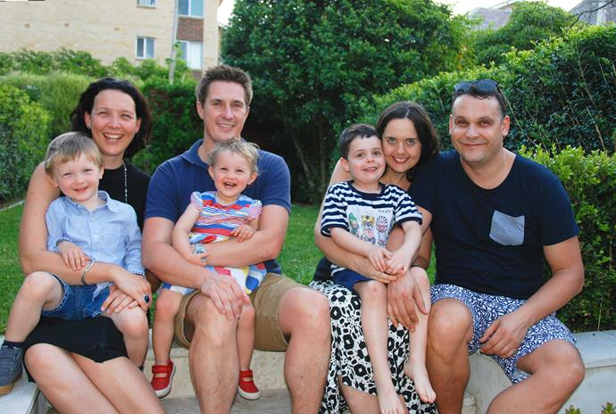 Daughter Anna with Flynn, son-in-law Andrew with Zara, daughter-in-law Chelsey with Otis and son Ben.