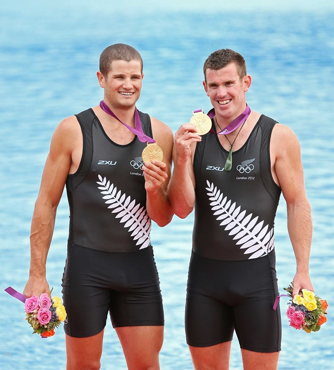 Smiles on the podium in England as Joe and Nathan pick up Olympic rowing gold in 2012.