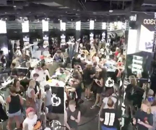 Huge crowds at Culture Kings stores.