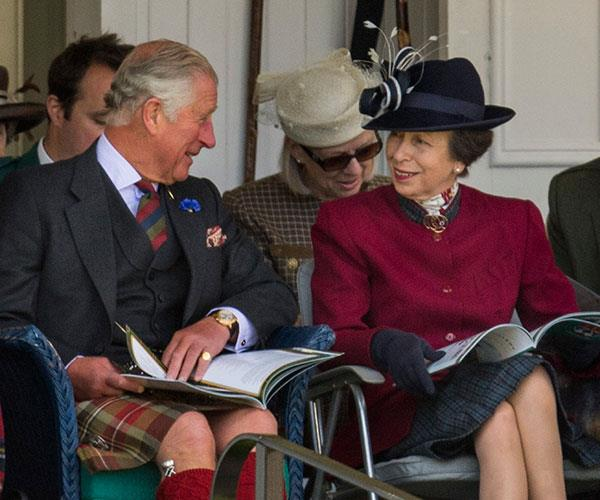 Prince Charles and Princess Anne share a joke at the 2017 Braemar Highland Gathering in Scotland.
