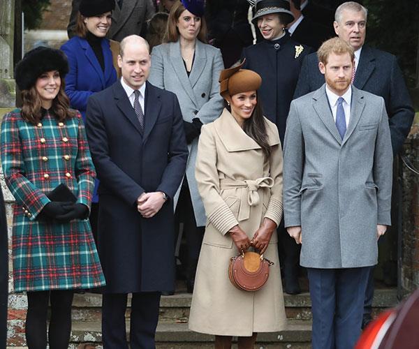 Princess Beatrice, Princess Eugenie, Princess Anne, Princess Royal, Prince Andrew, Duke of York, Prince William, Duke of Cambridge, Catherine, Duchess of Cambridge, Meghan Markle and Prince Harry attend Christmas Day Church service.