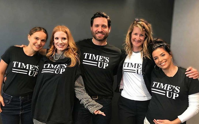**Jessica Chastain** posted this picture of her and her celebrity friends wearing Time's Up t shirts in support of the movement.
