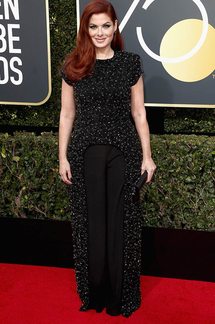 """**Debra Messing** said """"I'm wearing black to stand in solidarity all over the globe. And I'm here to celebrate the roll-out of this great initiative."""""""