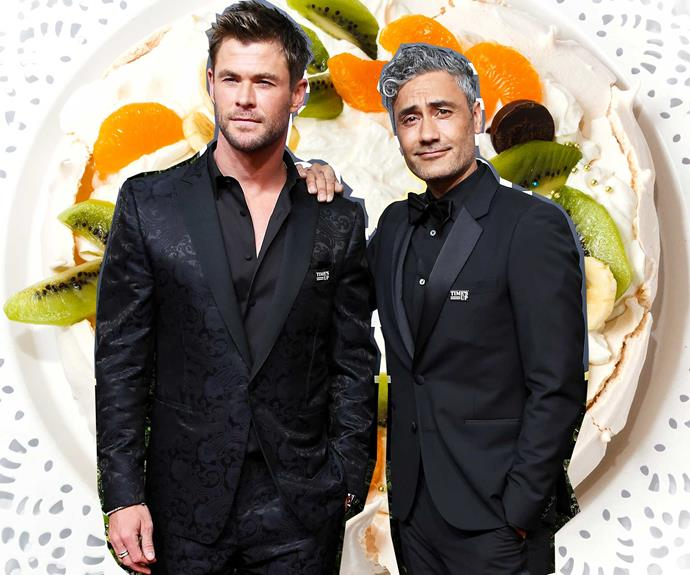 Taika Waititi symbolically claiming an Australian icon for his country on a Pavlova background at The 75th Golden Globes.