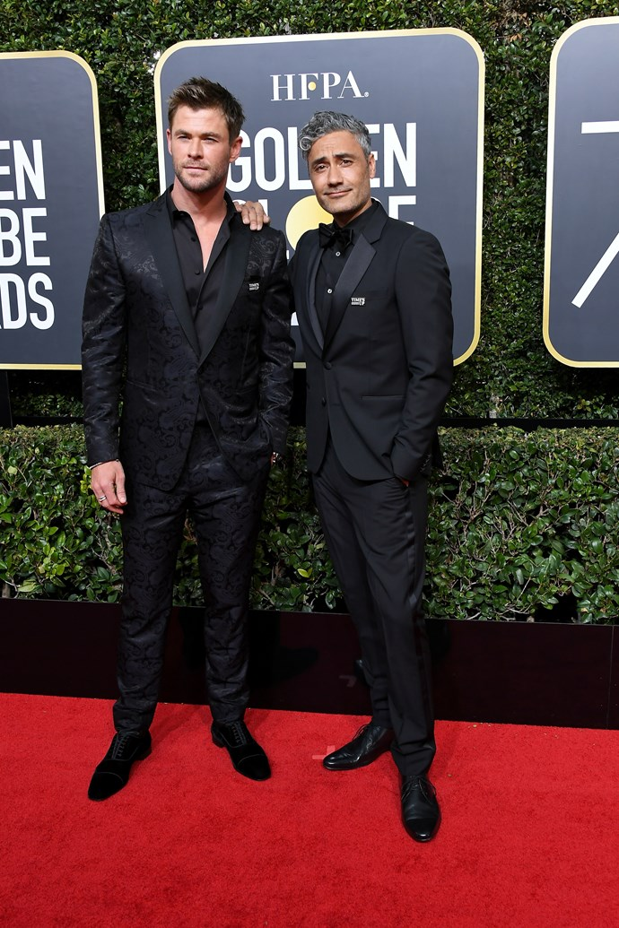 Australasian pals Chris Hemsworth and Taika Waititi were spotted in all-black with Time's Up pins on their lapels.