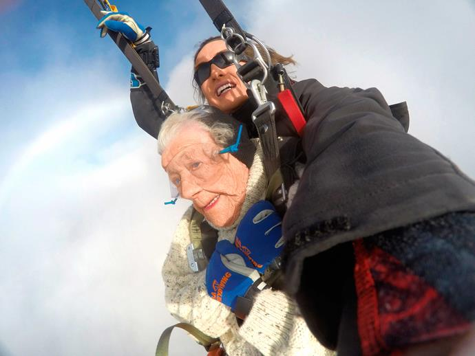Irene completed her record-breaking skydive with Jed Smith, who was her partner for her first jump, aged 100, in 2016.