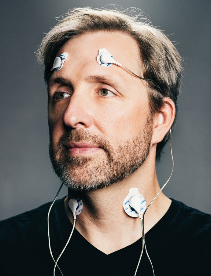 40 Years of Zen founder Dave Asprey with his custom brain mapping equipment.