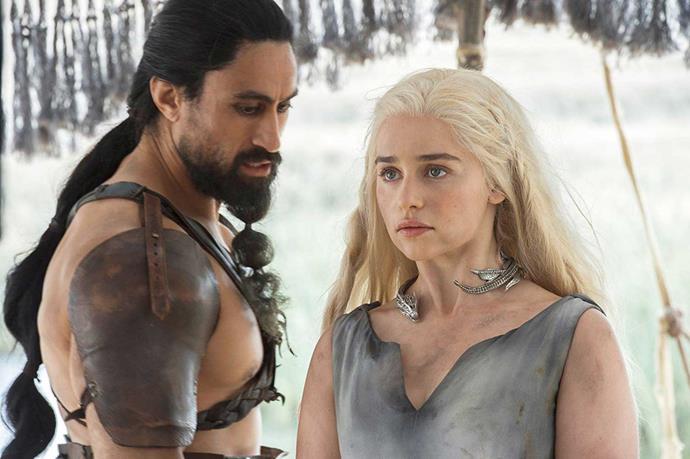 Joe with *Game of Thrones* co-star Emilia Clarke