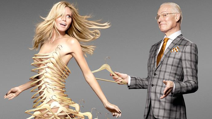 Heidi Klum and Tim Gunn in a promotional image for the US version of Project Runway.