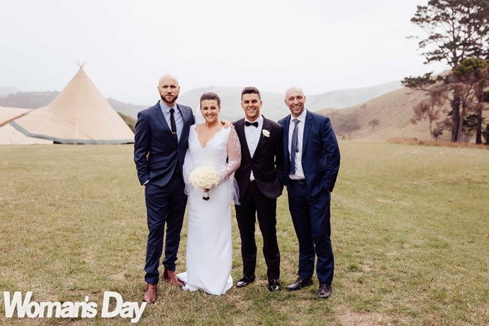 Megan's co-hosts Vaughan (left) and Fletch showed their support – and shed a tear – on her big day.