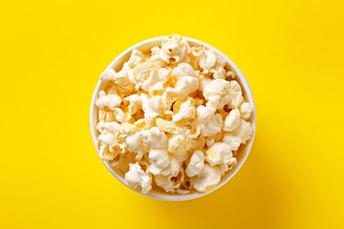 **50g lightly salted popcorn** A good source of wholegrain and vitamins, this is an excellent substitute for higher-cal snacks such as potato chips and biscuits.