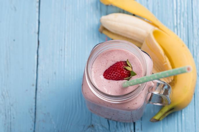**Strawberry and banana smoothie**                                                                                                                                                         Blend 100g non-fat Greek yoghurt with 2 handfuls frozen strawberries, 1 small banana, ½ tsp vanilla essence and ½ tsp honey for a high-protein treat.