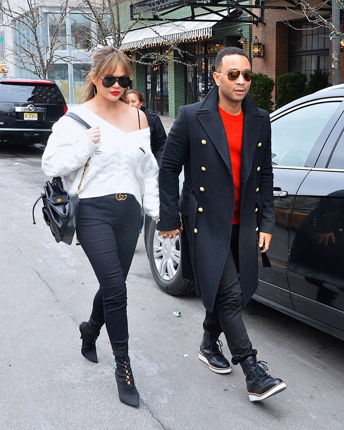 It's not all about glam nights out, Chrissy also rocks this knit and jeans combo during an outing with hubby John Legend.