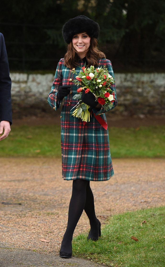 She wore this tartan ensemble for a Christmas Day morning church service at St Mary Magdalene Church in Sandringham, Norfolk.
