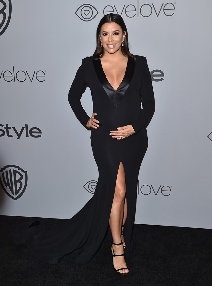 Eva Longoria looked incredible in a custom long-sleeved silk jersey Genny gown with a plunging neckline at the 19th Annual Post-Golden Globes Party.