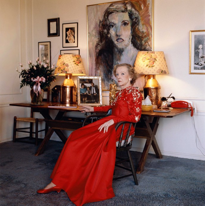 Bette at home in her Beverly Hills house in 1988, the year before she died.
