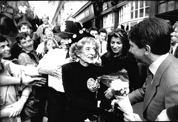 Bette Davis – with Kathryn by her side – is mobbed by fans in London's Piccadilly after the launch of her autobiography in 1987.