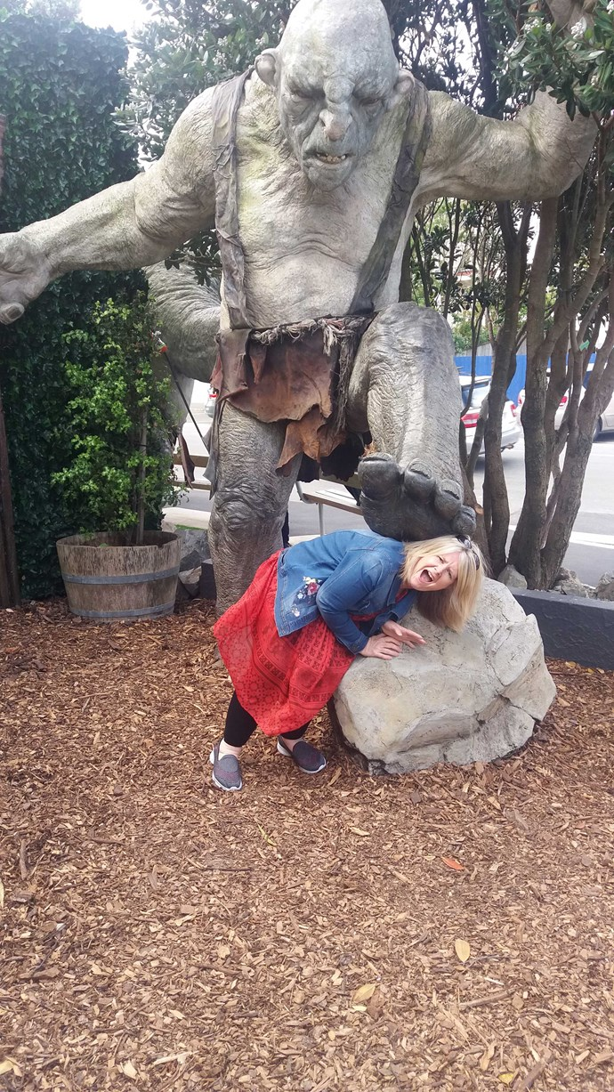 She's got a monster crush! Denise gets trolled at Weta Workshop.