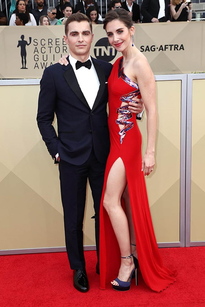 Alison and Dave Franco were one of the first couples to arrive.