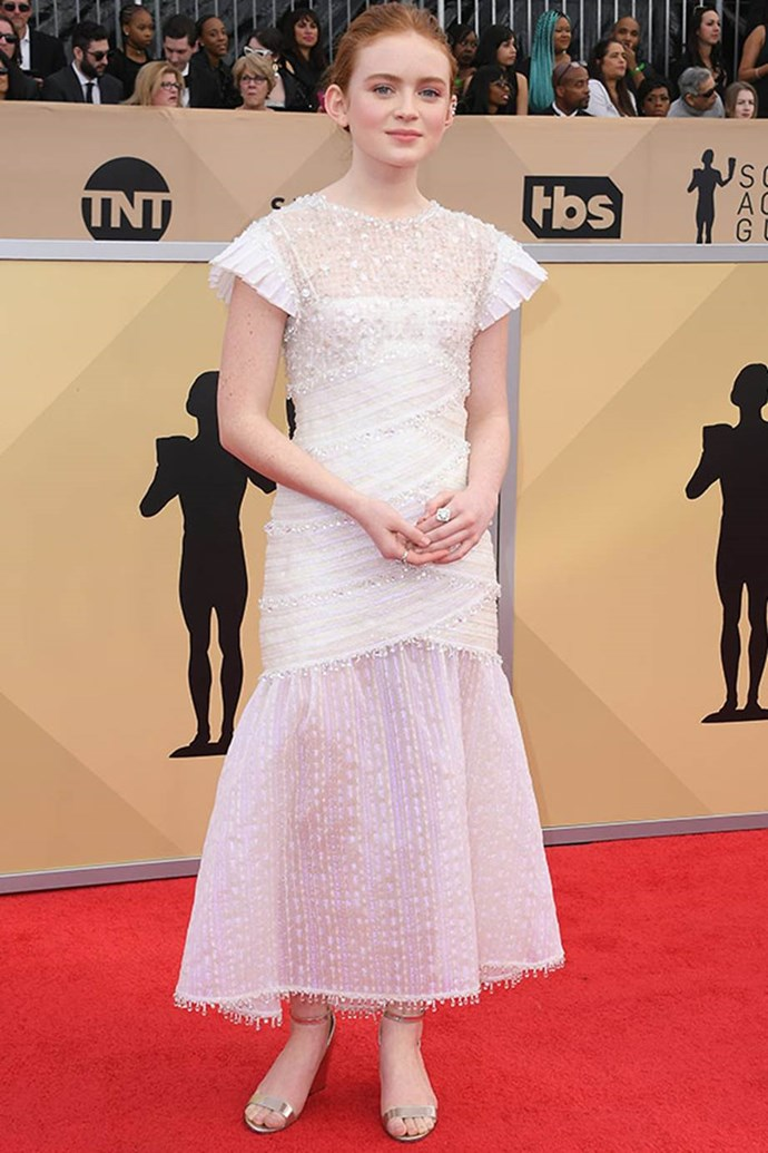 *Stranger Thing's* Sadie Sink is a vision in this soft pink dress, which features frilled sleeves and elegant beading.