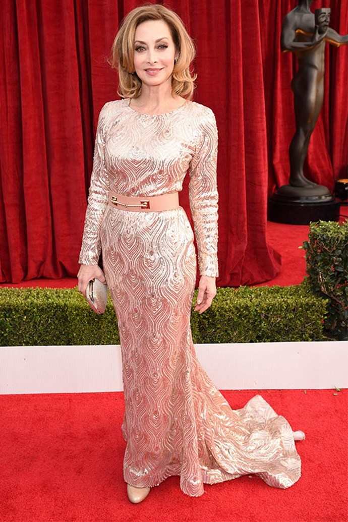 *NYPD Blue* fave Sharon Lawrence is a glittering goddess in this plush dress.