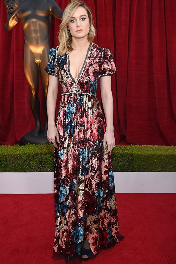 Brie Larson steps out in **Gucci**.