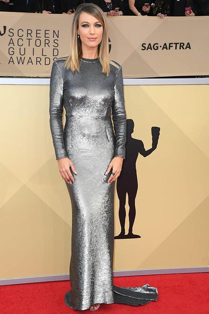 Natalie Zea stuns in this metallic dress.