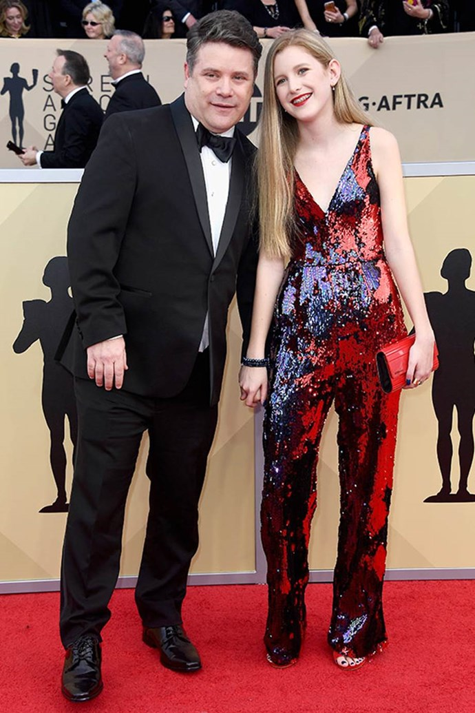 Stranger Things actor Sean Astin brings along his daughter Alexandra for the night.