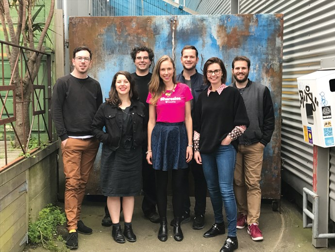 Sharesies co-founders (L-R) Ben Crotty, Sonya Willliams, Richard Clark, Brooke Roberts, Leighton Roberts, Natalie Bryant and Martyn Smith.
