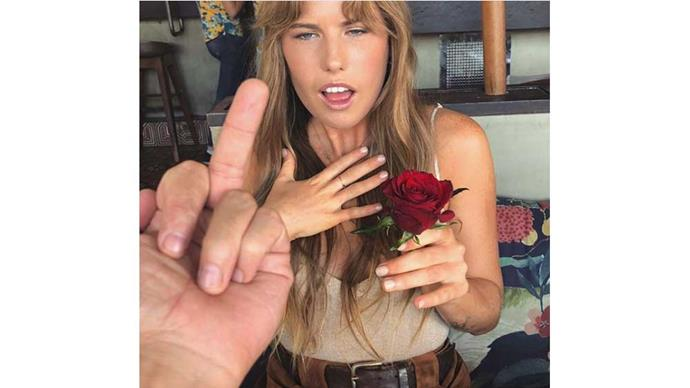 """""""Next Bachelorette?"""" Jordan wrote on this tongue-in-cheek Instagram post of Lily holding a rose."""