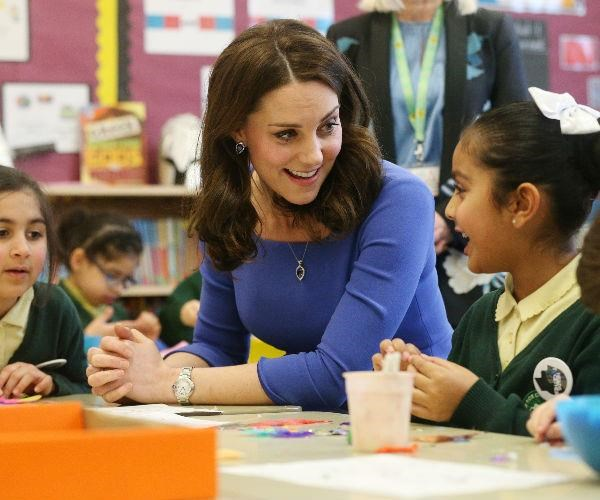 The Duchess of Cambridge dropped by the Roe Green Junior School in London on Tuesday to deliver a speech on mental health.