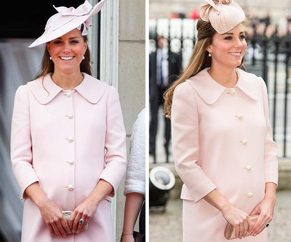 Mixing it up, Kate restyled the 2013 outfit (L) with a different hat (R).