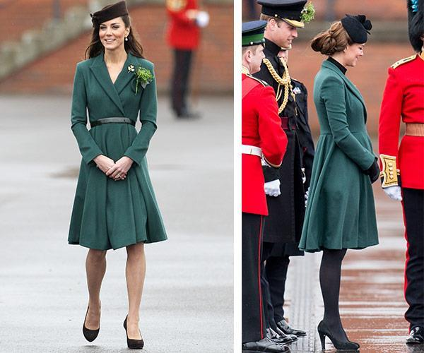 Kate changed her 2012 (L) look by pulling her hair into a low bun, a different hat with black tights... And a baby bump!
