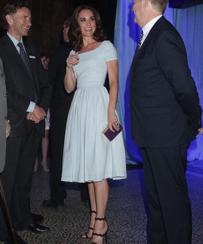 Continuing her style wave over the British summer, the 35-year-old was princess perfection in a powder-blue Preen dress at a function at the Natural History Museum in London.