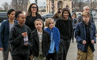 Angelina Jolie makes rare appearance with all six kids in Paris