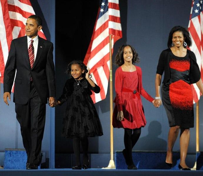 Michelle and Barack with their daughters Malia and Sasha.