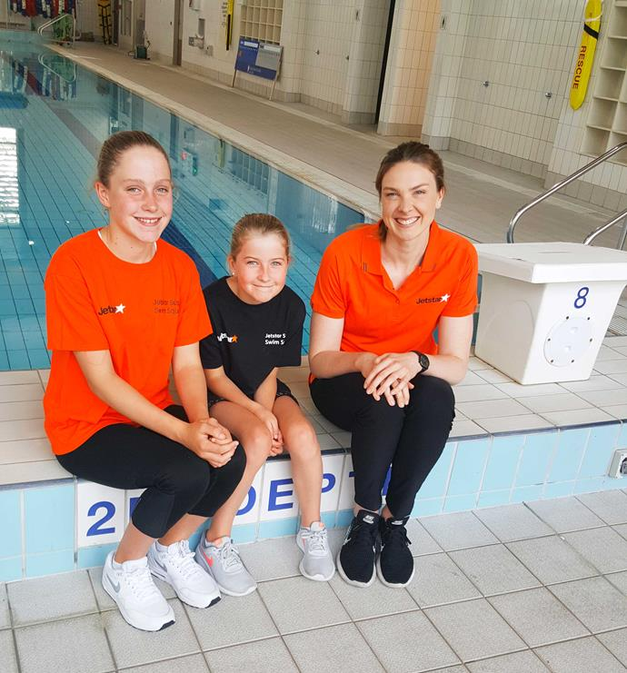 The Olympian is mentoring members of the Jetstar Super Swim Squad, including Ella Crowe (12) and her sister Grace (9).