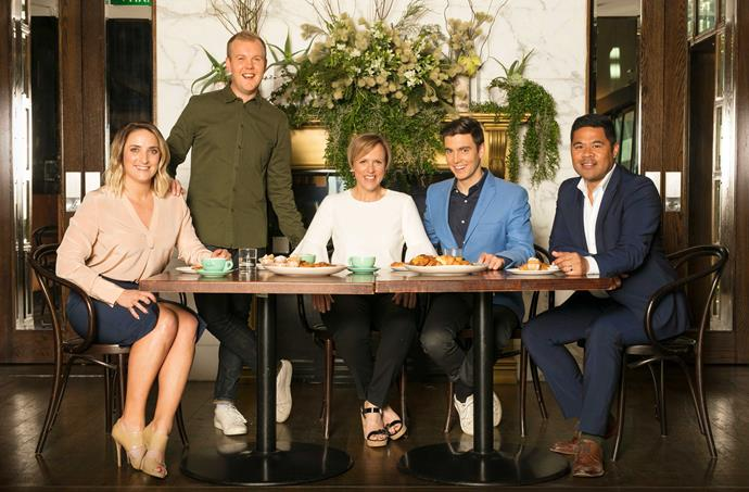 Hilary and the rest of the Breakfast team in 2017. From left, Brodie Kane, Matt McLean, Jack Tame and Daniel Faitaua.