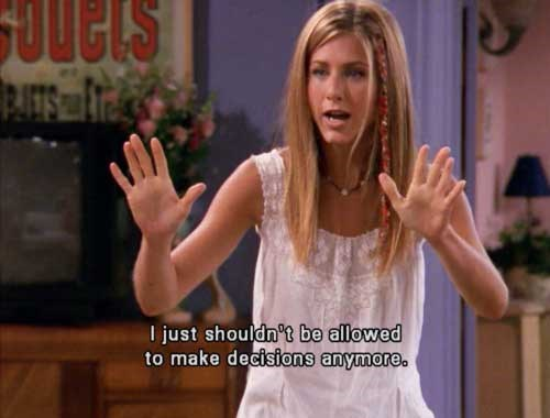 Jen as our favourite character of all time, Rachel Green on *Friends*.